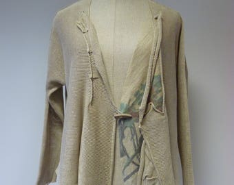 Special price, taupe linen cardigan with print, L size.