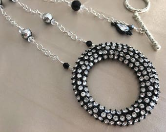 All That Sparkle! This Uniquely Handcrafted Necklace is Full of Black and Silver Sparkle!
