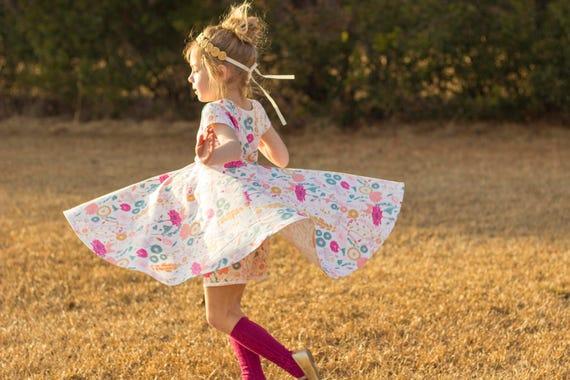 Easter Dress Spring Dress Twirly Easter Dress Toddler Dress Girl Dress Summer Dress Pink and Gold Twirl Dress Short Sleeve Twirly Knit Dress