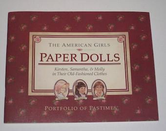 1990 The American Girls Paper Dolls - Kirsten, Samantha & Molly - Portfolio of Pastimes
