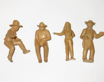 Vintage MARX Western Town Roy Rogers Special Cowboys and Cowgirl Lot of 4 Figures