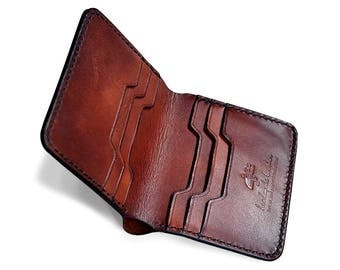 VERTIC hand stitched Bifold leather wallet, men wallet, gift idea, vegtan wallet, vegetable tanned leather, personalize wallet