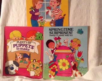 1981 childrens craft activity rainy day puppets springtime Troll Associates books