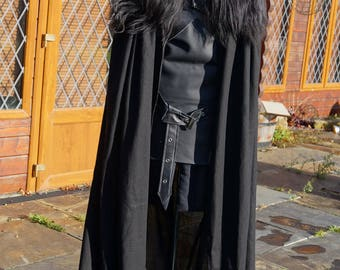 Reserved order, LittleShopCostumery...Payment 4 of 5....Game of Thrones 100% Real Leather & Sheep Skin ,deluxe heavy weight linen full cape.