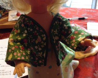 Doll jacket/blouse,  green floral, open front, binding around neck to front hem.