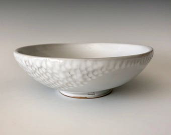 Modern handmade pottery serving bowl dessert bowl soup bowl wheel thrown white with carved exterior design Haight Pottery Company