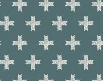 Pine Cross fabric - Unn Cross Pine, Heartland, Pat Bravo, Art Gallery Fabrics - modern fabric, geometric, green, nordic, scandinavian