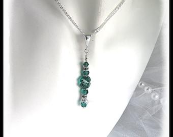 2445, St. Patricks Day shamrock necklace, green shamrock necklace, sterling silver necklace, emerald clover necklace, st. pattys day jewelry