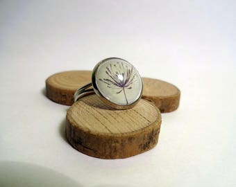 Black and white dandelion ring - 16mm