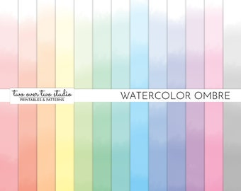 Ombre Watercolor Digital Paper, Ombre Digital Paper, Gradient, Dip Dye Background, Watercolour, Pastel, Instant Download