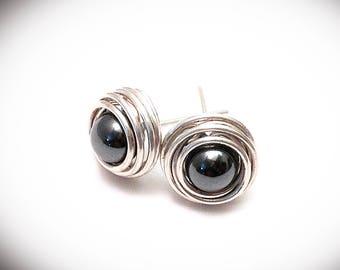 Silver earrings. Stud earrings. Silver wire earrings. Wire wrapped stud earrings with hematite in silver