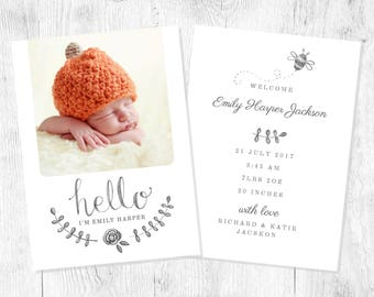 10 x Personalised (including photo) Girl or boy Baby Birth Announcement Cards plus white envelopes