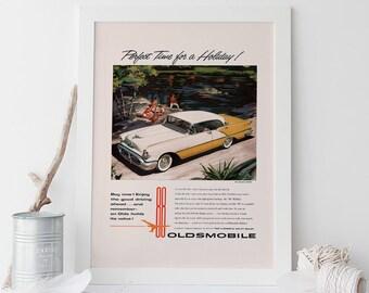 VINTAGE OLDSMOBILE AD -  Rocket 88 Car Poster - Quality Reproduction, Garage Decor, Hot Wheels, Car Lover, Retro Car Poster