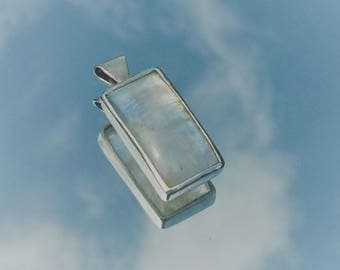Pendant Moonstone & 925 sterling silver - unisex/rectangle/care/healing/gemstone/crystals/minerals