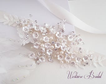 Wedding Belt, Bridal Belt, Sash Belt, Floral Pearl and Rhinestone Belt, Bridal Accessories - Style 791
