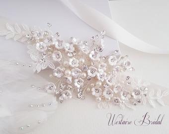 Wedding Belt, Bridal Belt, Sash Belt, Floral Pearl and Rhinestone Belt, Bridal Accessories - Style 791