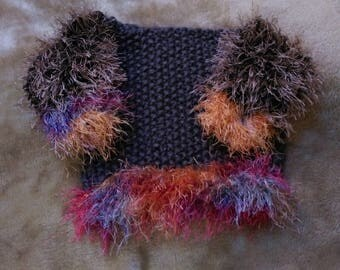 """OOAK! Girls 20"""" chest chunky funky hand knit Jumper multi colours"""