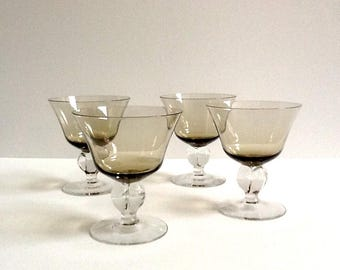 Mid Century Crystal Champagne Tall Sherbet Glasses, Set of 4, Guilli Smoke by Swedish, 4 Lobe Stem, 7 Fluid Ounces
