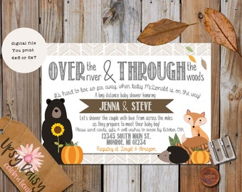 Long Distance Baby Shower Invitation, Fall Baby, Fall Baby Shower  Invitation, Autumn Shower