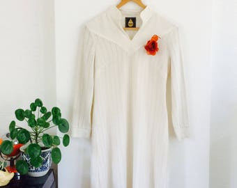 Vintage crème witte jurk | vintage off white dress| fall dress| size M/L | with underskirt|