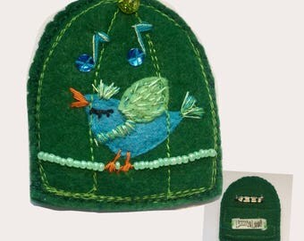 Dark Green Birdcage w-Blue Bird ID/Badge Holder with detachable plastic badge insert