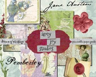Jane Austen Printable  Pride and Prejudice  Printable Junk Journals  DIY Journal  ephemera pack  printable journal pages  jane austen