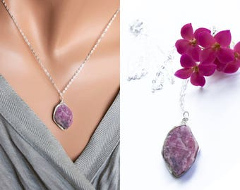 Raw Ruby Necklace, July Birthstone, Raw Crystal Necklace, Rough Stone Jewelry, Untreated Natural Large Ruby Sterling Silver Pendant Necklace