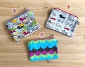 Monederos, gatos, ondas, colores, monederos pequeños, monederos cremallera, cat wallet, tarjeteros, regalo chico, regalo chica