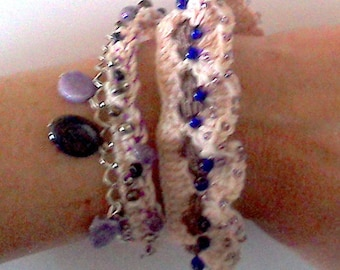 Pink Purple and blue Beads Bracelet