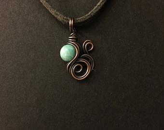 Hemimorphite Copper Wrapped Pendant Necklace