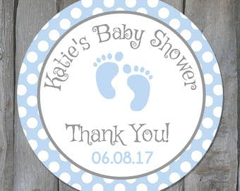 Baby boy stickers etsy personalized baby boy shower favor stickers blue baby feet shower favor tags baby shower negle Gallery