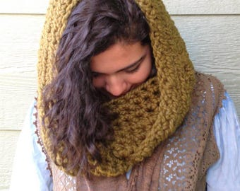 Scarf, dark olive green chunky Crochet infinity scarves, neck warmer, Fall Winter head cover Accessories, hooded scarf