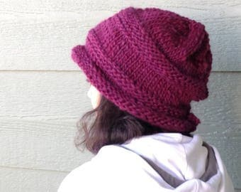 Hat, beanie hat, winter fashion, chunky Christmas maroon slouchy hay, women's head cover, holiday gifts, skier gifts, skiing hats