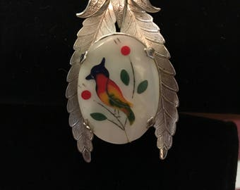 Painted bird necklace with 24 inch chain