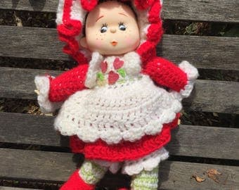 Vintage Knitted or Crocheted Strawberry Shortcake Doll