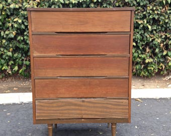 SOLD Mid Century Danish Modern Hiboy 5 Drawer Project Dresser Tall Chest of Drawers