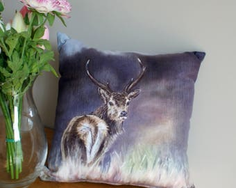 Square Stag In Heather Washable Cushion By Artist Grace Scott