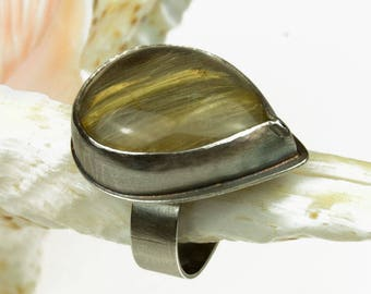 silver Ring with quartz rutyl, sterling silver ,a470,gift for her,for hand-made ring, silver jewelry,engagment ring, artseko, gemstone ring