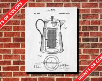 Coffee Percolator Patent Print Kitchen Wall Art Cafe Poster Coffee Print Coffee Percolator Blueprint