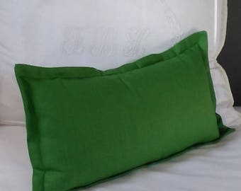 Green Linen Pillow Cover Kelly Emerald Malachite Grass Green Knife Edge Piping or Flange 13x20 14x22 Lumbar 18x18 20x20 22x22