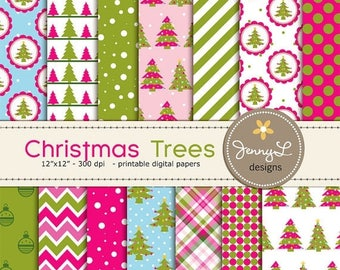 50% OFF Christmas Trees Digital Papers, Christmas Papers, Christmas Star, Holiday Digital ScrapbookingPaper, Red and Green Christmas