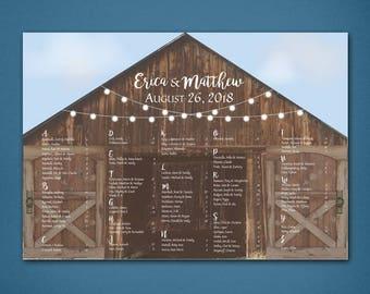 PRINTABLE Barn Wedding Seating Chart • Barn Seating Chart • Rustic Seating Chart • Guest List • Reception Seating Assignment • Digital File