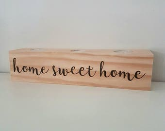 Personalised timber candle holder - house warming / wedding gift / bridal party gift