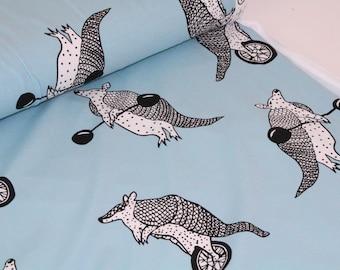 Organic Cotton Jersey knit - Mia Mea Fabric - Armadillo Blue UK SELLER