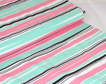 Organic Cotton Jersey Fabric | Paapii | Waves Mint and Pink