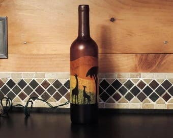 Giraffes at sunset wine bottle light nightlight - orange yellow brown and black - baby giraffe - wine bottle with mini lights
