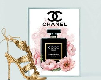 Wall Art Print of Chanel Noir Bottle Watercolour with flowers A4 glossy - unframed