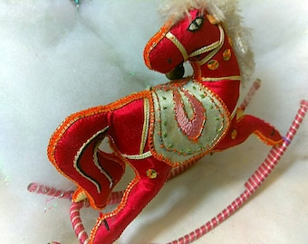 Vintage Morrocan Red Silk Embroidered Horse