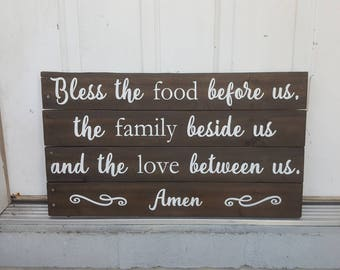 Bless the Food Before Us Sign - Pallet Sign - Christian Sign - Kitchen Sign - Dining Room Sign - Bless the Food - Housewarming Gift