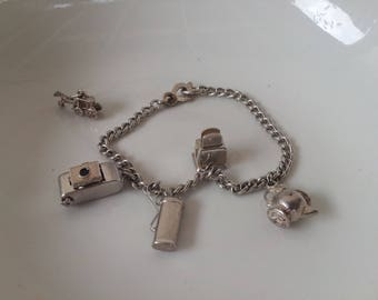 Sterling Silver Charm Bracelet with moveable parts, articulated